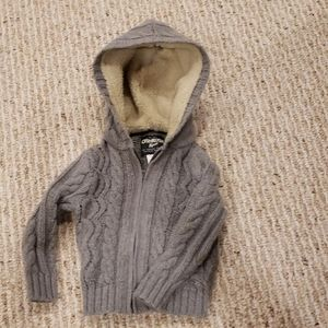 Cozy 18 month OshKosh B'gosh grey sherpa hoodie